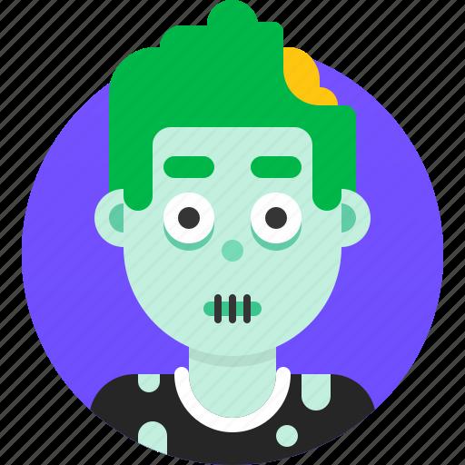 avatar, emoji, face, head, man, profile, zombie icon