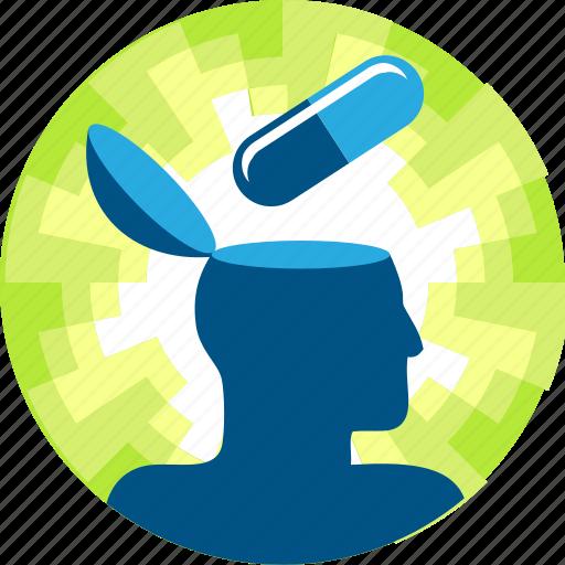 brain, knowledge, learn, mind, pill, skill icon