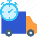 delivery, delivery time, fast delivery, stopwatch, time, truck
