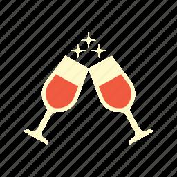 beverage, birthday, celebration, drink, glasses, party, wine icon