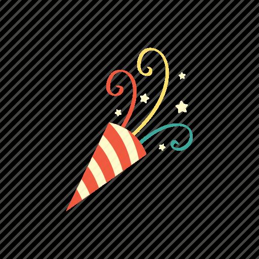 anniversary, birthday, celebration, confetti, happy, party, surprise icon