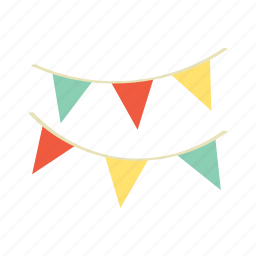 birthday, celebration, decoration, flag, hanging, happy, party icon