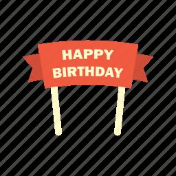 banner, birthday, celebration, decoration, happy, party, ribbon icon