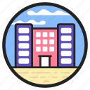 commercial building, commercial centre, modern building, office blocks, office building icon