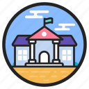 arcade, building front, condominium, residential building, university icon