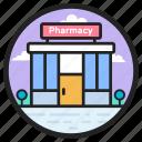 chemist shop, commercial center, dispensary, drugstore, pharmacy, rehabilitation center