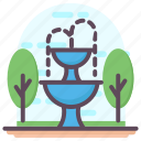 decorative fountain, fountain, garden fountain, park fountain, water fountain icon