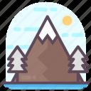 landscape, mountains sunrise, sunny mountains, sunrise hilly area, sunshine hilly area icon
