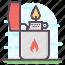 cigarette burning, creating flame, fire lighter, fire starter, ignitor, lighter icon