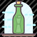 bottle communication, bottle letter, bottle mail, message in bottle, piracy, scroll message icon