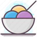 dessert, frozen food, ice cream cup, ice cream scoops, sundae, sweet icon