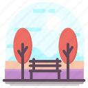 garden, lawn bench, outdoor sitting, park bench, patio furniture icon