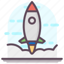 launch, missile, rocket, spaceship, startup icon