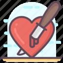 halloween, heart dagger, knife in heart, knife stabbing, stabbing heart icon