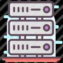 data center, data racks, data server, data storage, database icon