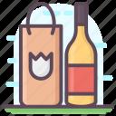 alcohol shopping, beer bottle, wine bottle, wine glass, wine shopping icon