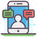 mobile chatting, mobile communication, mobile conversation, mobile messaging, sms icon