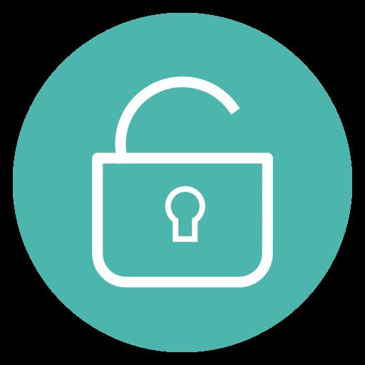 circle, lock, security, style, unlock icon