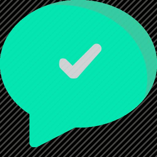 chat, check, comment, conversation, message icon