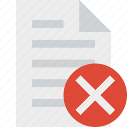 cancel, document, file, page, paper icon