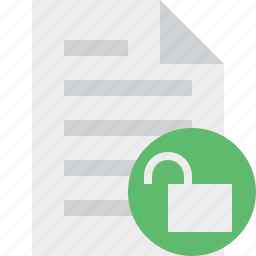 document, file, page, paper, unlock icon