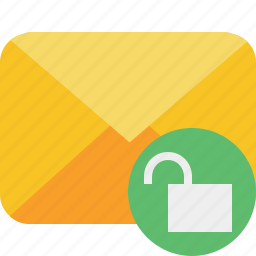 communication, email, letter, mail, message, unlock icon