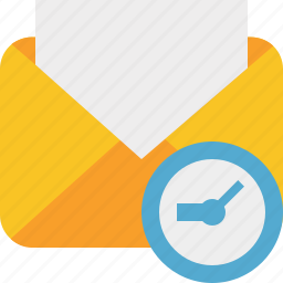 clock, communication, email, letter, mail, message, read icon