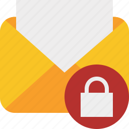 communication, email, letter, lock, mail, message, read icon
