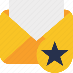 communication, email, letter, mail, message, read, star icon