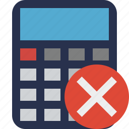 accounting, calculate, calculator, cancel, finance, math icon