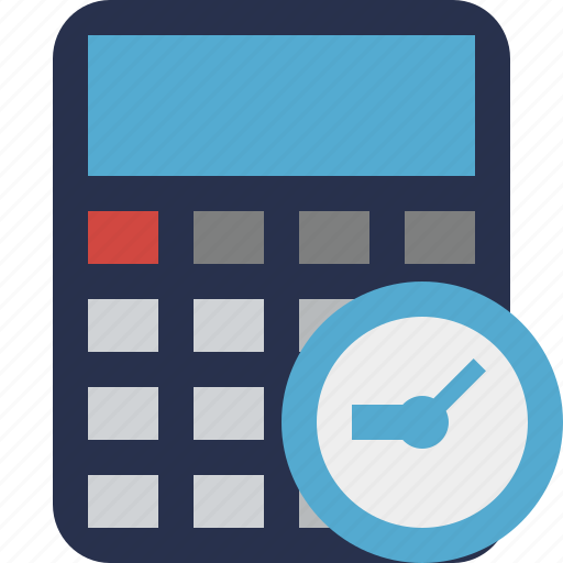 accounting, calculate, calculator, clock, finance, math icon