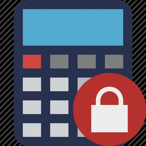 accounting, calculate, calculator, finance, lock, math icon