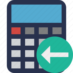 accounting, calculate, calculator, finance, math, previous icon