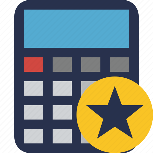 accounting, calculate, calculator, finance, math, star icon