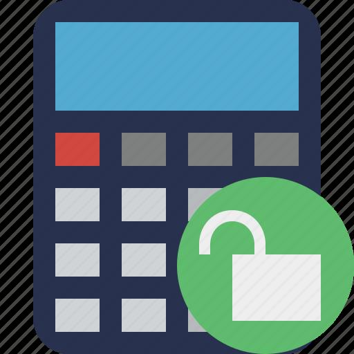 accounting, calculate, calculator, finance, math, unlock icon