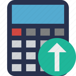 accounting, calculate, calculator, finance, math, upload icon