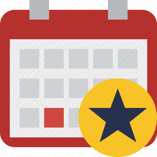 calendar, date, day, event, month, schedule, star icon