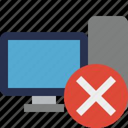 cancel, computer, desktop, monitor, server icon