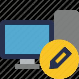 computer, desktop, edit, monitor, server icon