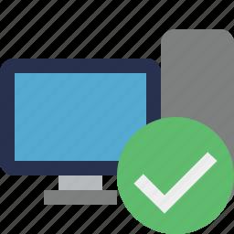 computer, desktop, monitor, ok, server icon