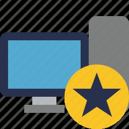 computer, desktop, monitor, server, star icon