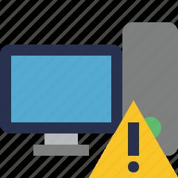 alert, computer, desktop, monitor, server, warning icon