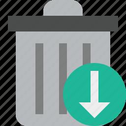 delete, download, garbage, remove, trash icon