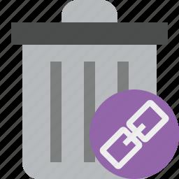 delete, garbage, link, remove, trash icon