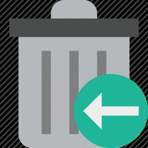 delete, garbage, previous, remove, trash icon