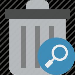 delete, garbage, remove, search, trash icon