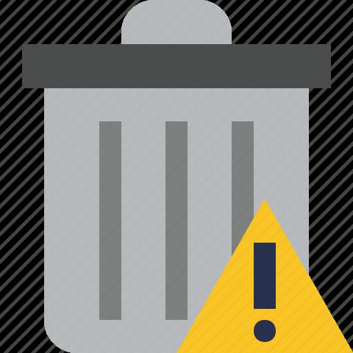 delete, garbage, remove, trash, warning icon