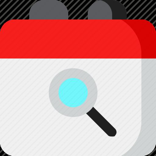 calendar, date, event, schedule, search icon