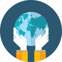 earth, ecology, flat design, global, hand, people, save icon