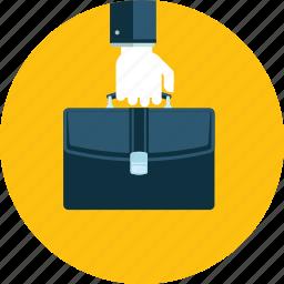 business, company, flat design, hand, people, portfolio, service icon